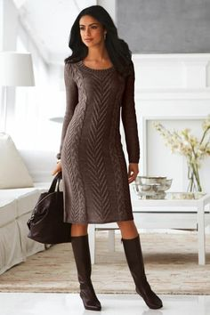 An elegant handmade knitted winter dress by CottonMystery on Etsy Cable Knit Sweater Dress, Cable Knit Sweaters, Knit Dress, Long Sleeve Sweater Dress, Knit Fashion, Work Fashion, Street Fashion, Fall Fashion, Brown Fashion