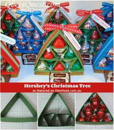 A great gift for school office workers during the holiday season-can make enough for everyone! Hershey& Christmas Tree Tutorial is great for homemade DIY last minute gifts for groups or parties, kids crafts, crafting candy for neighbors, teachers, etc. Christmas Favors, Christmas Goodies, All Things Christmas, Winter Christmas, Christmas Holidays, Christmas Decorations, Christmas Projects, Holiday Crafts, Holiday Fun