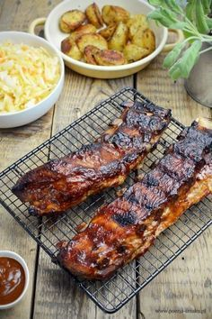 Żeberka z piekarnika pieczone Rib Recipes, Brunch Recipes, Cooking Recipes, Healthy Recipes, Good Food, Yummy Food, Chicken Parmesan Recipes, Carne, Food Photography