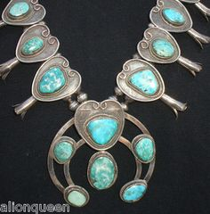 Very Old Vintage Navajo Sterling Silver Turquoise Squash Blossom Necklace | eBay