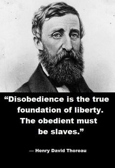 Disobedience is the true foundation of liberty. The obedient must be slaves. - Henry David Thoreau