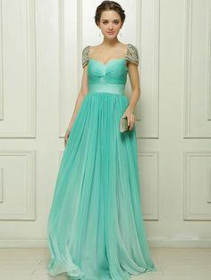 A-line Capped Floor-length Green Chiffon Prom/Evening Dress ED405