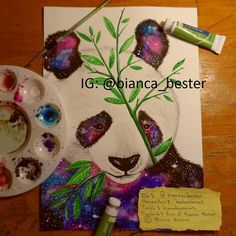 "Took better quality photos of some old artworks. This was also my first attempt at painting a galaxy  ""Galaxy panda with bamboo"" Prime Art watercolor paint 2016   Art (c) Bianca Bester (original design)  Feel free to follow me on: DeviantArt: beebesterart  Tumblr: biancabesterart Facebook: Art of Bianca Bester  Reference used for the pose.  #panda #pandabear #bear #bamboo #China #plants #leaf #stars #shootingstar #planet #galaxy #animal #wildlife #world #earth #nature #natureart…"