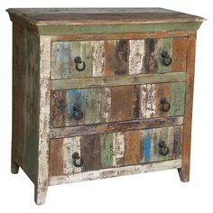 Three-drawer mango wood distressed chest