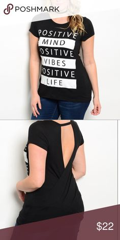 """💋POSITIVE VIBES plus sz T Shirt criss-cross back. POSITIVE VIBES t shirt CRISS/CROSS open back, STRETCH, poly/spandex, fabric is very cool to the touch, bust = 48"""" without stretching, length = 29"""". I love this top, it's one of my favorites! NWT Janette Plus Tops Tees - Short Sleeve"""