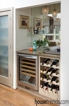 Closet transformed into an elegant home bar with wine storage.