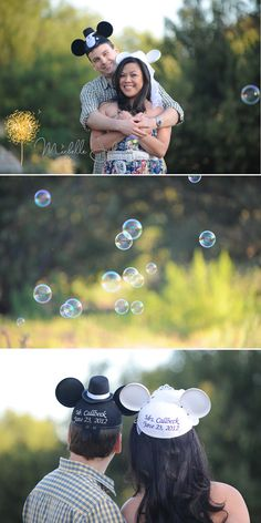 disneyland and bubbles engagement photo