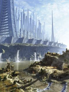 Concept Art Writing Prompt: The Futuristic City Above and the Primitive Village . Concept Art Writing Prompt: The Futuristic City Above and the Prim. Fantasy City, Fantasy Places, Fantasy Landscape, Sci Fi Fantasy, Fantasy World, Landscape Concept, Dark Fantasy, Landscape Design, Futuristic City