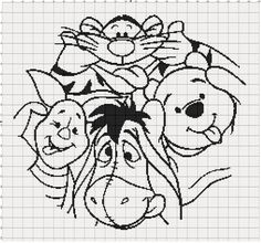 Filet Crochet Pattern - Winnie The Pooh Crazy Faces door MoWeHappy op Etsy Disney Cross Stitch Patterns, Cross Stitch Charts, Cross Stitching, Cross Stitch Embroidery, Stitch Cartoon, Knitting Charts, Filet Crochet Charts, Knitting Patterns, Embroidery Patterns Free