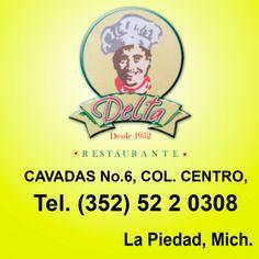 Restaurante Delta, aprovecha esta gran oferta, presentando tu membresía obtén 20% de descuento en la cuenta de 4 o más personas.  Cavadas #6 Col.Centro  Tel. 352 522 0308  www.facebook.com/1952delta  La Piedad, Mich.