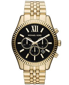 Michael Kors Watch, Men's Chronograph Lexington Gold-Tone Stainless Steel Bracelet 45mm MK8286 - All Michael Kors Watches - Jewelry & Watche...