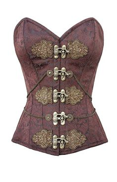 A quintessential aspect of steam punk fashion for women is usually the Victorian corset. View CorsetDeal's steampunk corsets here. Costume Steampunk, Mode Steampunk, Gothic Steampunk, Steampunk Clothing, Steampunk Fashion, Steampunk Couture, Gold Corset, Sexy Corset, Overbust Corset