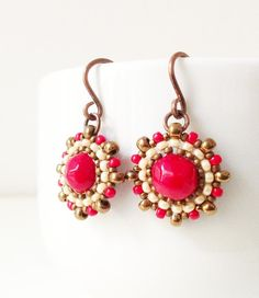 Handmade coral pearls and seed beads earrings in red, golden bronze and cream