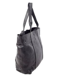 Large Black Soft Leather Tote