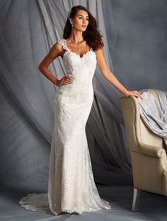 Alfred Angelo Style 2547: fit and flare lace wedding dress with straps and low open back