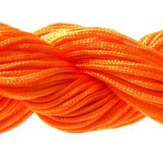 Lot 5m cordon nylon spécial shamballa orange foncé 1mm