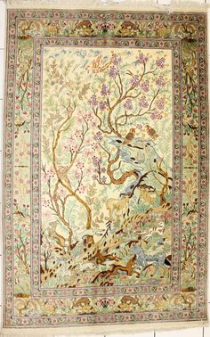 wall hanging   Q-48, 126 x 195 cm, Qum Tree of Life, All Silk, Persian hand made.