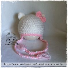 Hello Kitty Earflap Beanie - Newborn to Toddler sizes by Janet Carrillo