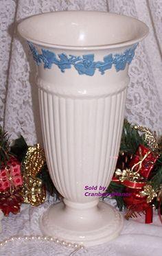 SALE Wedgwood Vase Blue Embossed Queen's Ware Relief Grape Vine Vintage Designer English England White Eturia Barlaston Porcelain Home Decor