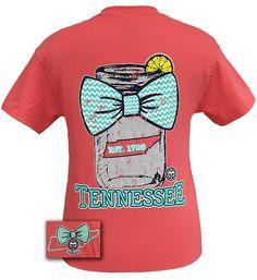 Girlie Girl Originals Tennessee Chevron Mason Jar Preppy State Bow Bright T Shirt