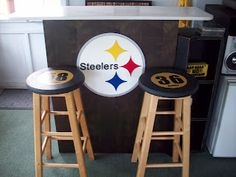 Great site for cheap crafts!  Love these Steeler barstools for $2.00 each.