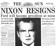 August 8, 1974 – President Richard Nixon, in a nationwide television address, announces his resignation from the office of the President of the United States effective noon the next day
