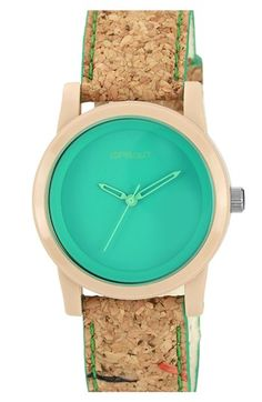Mom would live this SPROUT™ Watches Color Dial Cork Strap Watch, Bissonnet Bissonnet Jewelry Accessories, Fashion Accessories, Fashion Jewelry, Women's Fashion, Swatch, To Go, Hipster, Teal Green, Cool Watches