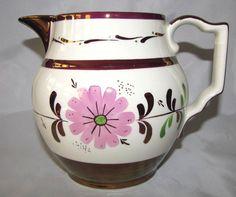 Copper Pink English Kirkland Old Castle Daisy Flower LUSTERWARE Jug  Pitcher