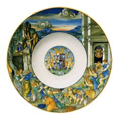 Nicola di Grabriele Sbraghe da Urbano (ca. 1480-1537/38) Service of Isabella d'Este (1474-1539), Large plate with the legend of  Gathering of Manna Italy, Urbino, ca. 1524-1525, Majolica a istoriato, painted in polychrome, D. 52,3 cm Hambourg, Museum Für Kunst und Gewerbe, 1906.420