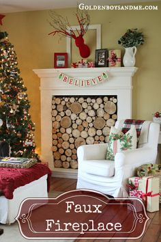 faux fireplace with stacked wood birch logs at Christmas- www.goldenboysandme.com