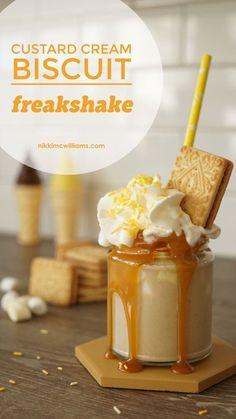 A British classic - Custard Cream Biscuit Freakshake (Extreme Milkshake) by Nikki McWilliams Dessert Drinks, Yummy Drinks, Dessert Recipes, Hot Fudge, Yummy Treats, Sweet Treats, Yummy Food, Cream Biscuits, Funnel Cakes