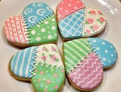 wet on wet royal icing on these patchwork heart cookies