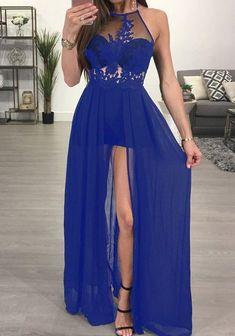 Sheer mesh lace applique maxi romper dress cosas de andrea e Cheap Dresses, Blue Dresses, Formal Dresses, Formal Romper, Maxi Dresses, Maxi Romper, The Dress, Homecoming Dresses, Dress Prom
