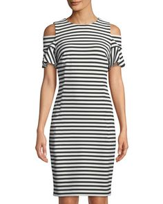 b6d6d1d367 Shop Cold-Shoulder Striped Sheath Dress from Iconic American Designer at Neiman  Marcus Last Call