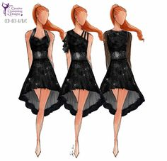 CCD-613-A/B/C  DESCRIPTION: one piece dress with built in briefs, two layer skirt, assorted style tops, detail continues to back BASE PR...