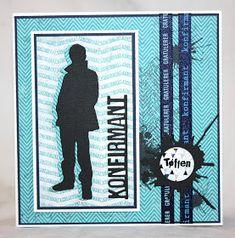 papirdesign-blogg: Konfirmasjonskort til en tøffing Masculine Birthday Cards, Masculine Cards, Diy Scrapbook, Scrapbooking, Paper Cards, Pattern Design, Stencils, Album, Crafts
