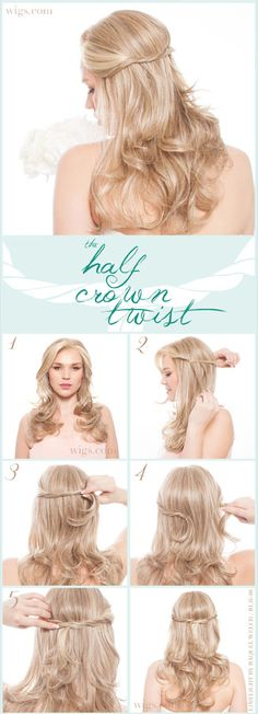Add a simple twist for instant appeal!  What you'll need for the Half Crown Twist hairstyle:   Long, lace front wig with loose waves. (We chose Limelight by Raquel Welch) Shaping Crème by BeautiMark Style & Hold Hairspray by BeautiMark Bobby pins (2-4)