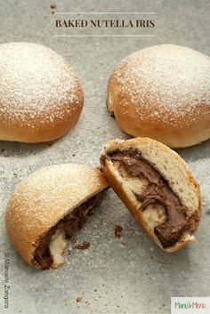 Baked Nutella Iris - a Sicilian baked bun filled with Nutella and dusted with icing sugar.