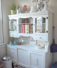 Great way to repurpose a computer desk and hutch for dining room.