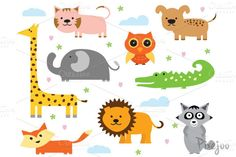Check out Animal Cliparts in EPS and PNG by Pixejoo on Creative Market