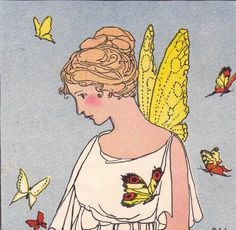 """Cupid and Psyche lived together in happiness Cupid and Psyche """"Myths and Enchantment Tales"""" stories and illustrations by Margaret Evans Price. 1940 Rand McNally and Co. edition taken from """"A Child's Book of Myths,"""" copyright 1924, and """"Enchantment Tales for Children,"""" copyright 1926."""