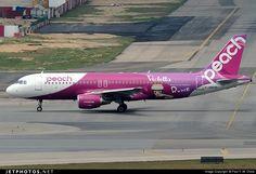 Peach Aviation (JP) Airbus A320-214 JA804P aircraft, with the sticker ''Violetta-Rune Naito roots of Kawaii'' on the airframe, skating at China Hong Kong Chek Lap Kok International Airport. 15/03/2015.