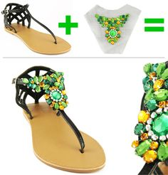 By Blerona To kick off this summer, M&J is showing you how to look super chic on budget, this time we're doing it with your shoes. Sandal flats are a must have for the summer, but buying severa… Jeweled Shoes, Bling Shoes, Embellished Sandals, Shoe Clips, Shoe Art, Diy Clothing, Your Shoes, Diy Fashion, Jewelry Crafts
