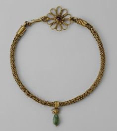 Roman Necklace with Pendant, 3rd century A.D. Gold, garnet, and emerald