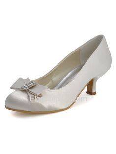 Elegantpark Ivory Round Toe Chunky Heel Satin Bowknot Bridal Evening Shoes – Elegantpark.com