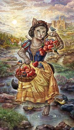 Temperance tarot card from the forthcoming CaTTarot, to be published in 2016 by Lo Scarabeo. Art by Diana Cammarano