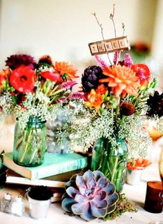 mason jar center pieces