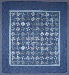 Custom Amish Quilts - Blue Framed Galaxy Spin Stars