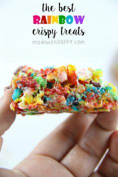 The best rainbow crispy treats - Rainbow Desserts - Rainbow Rice Crispy Treats - St.Patrick's Day Treats - www.madewithHAPPY.com