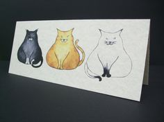 Three Fat Cats Card by Nikelcards on Etsy